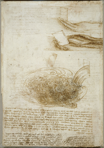 Recto: Studies of flowing water, with notes. Verso: Studies of flowing water, with notes
