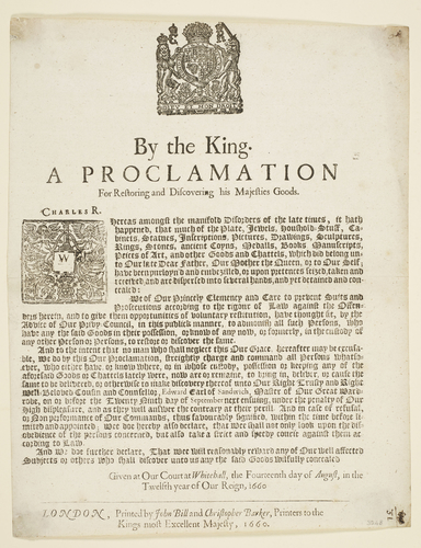 Master: Volume of broadsides dated from 1625 to 1702. Item: A Proclamation for restoring and discovering his Majesties goods