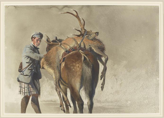 John Mackenzie with a dead stag on a pony