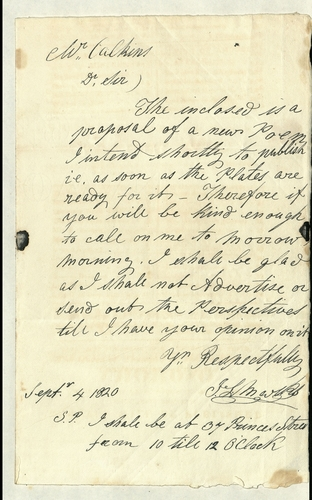 Letter to Joseph Calkin offering to talk about publication of the enclosed poem 'AMOROS King of little Britain'