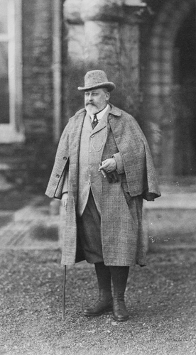 King Edward VII (1841-1910) wearing an Inverness cape, c. 1905