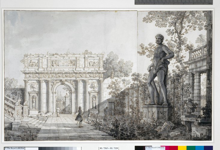Padua: The Benavides garden, with a classical arch and a statue of Hercules