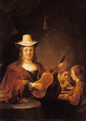 A Woman Playing the Guitar