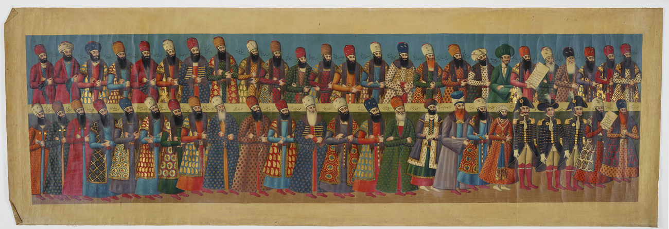 Master: The Court of Fath 'Ali Shah at the Nowrooz Salaam Ceremony. Item: Nobles and officials attending the audience of Fat?h Ali Shah, looking right