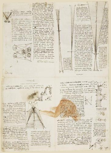Recto: Studies of optics and men in action. Verso: Studies of optics