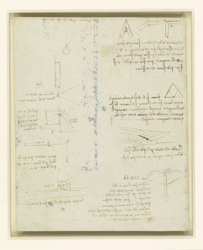 Recto: A study for an equestrian monument. Verso: Studies of flowing water, a cross-bow, geometry, etc