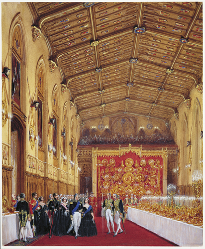 Queen Victoria and Louis-Philippe entering St Georges Hall for the Garter Banquet, 11 October 1844