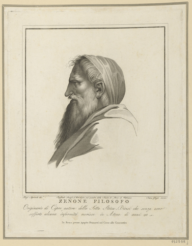 Master: Set of fifteen prints reproducing heads from 'The School of Athens' Item: Head of a bearded man wearing a head covering [from 'The School of Athens']
