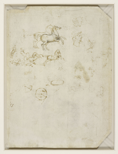 Recto: Horses, machinery, and an angel. Verso: Prancing horses, and the head of Nero