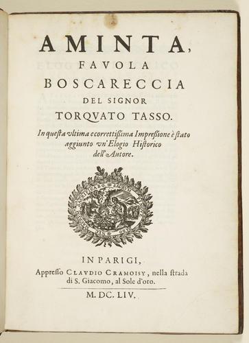 Aminta . . . / Torquato Tasso. With: Filli di sciro . . . / Guidubaldo Bonarelli