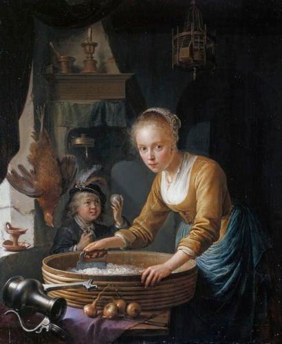 A Girl chopping Onions