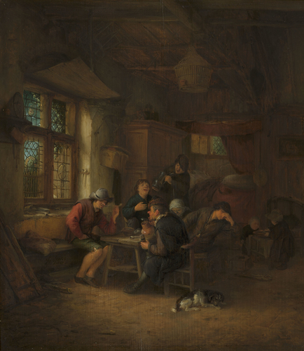 Interior of Tavern with a Five Peasants and a Woman
