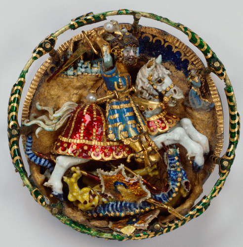 Hat badge with St George and the dragon