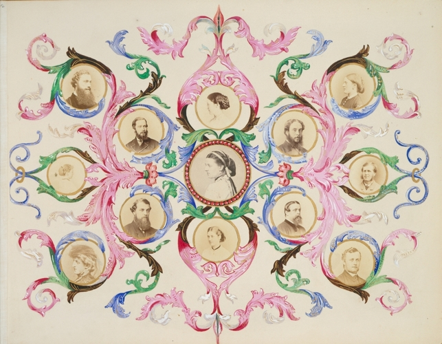 Collage design by Alexandra, Princess of Wales, with portrait photographs, c. 1866-69