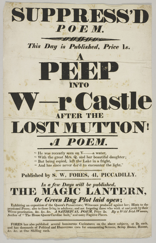 Poster advertisement for 'A Peep into W[indso]r Castle after the Lost Mutton!'