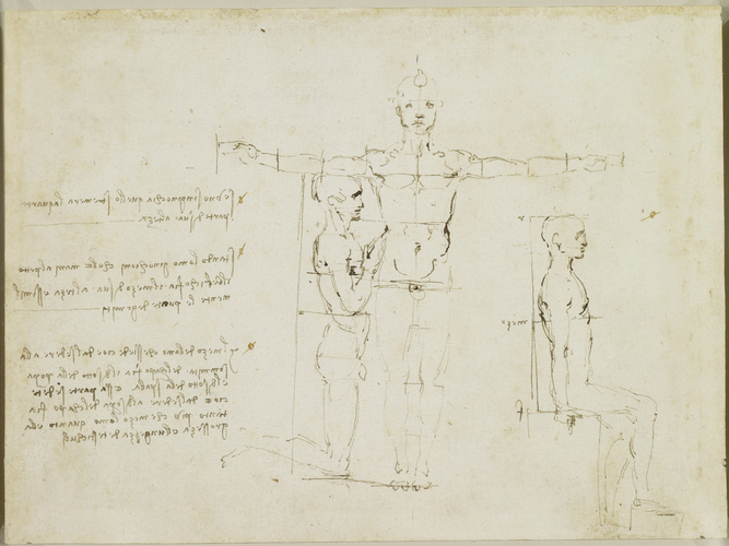 Recto: The proportions of a standing, kneeling and sitting man. Verso: Notes on human proportion