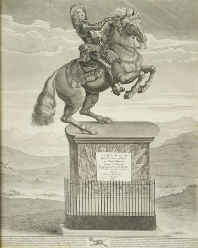 An equestrian statue of James II