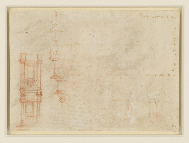 Recto: Studies of water, and a seated old man. Verso: Architectural studies