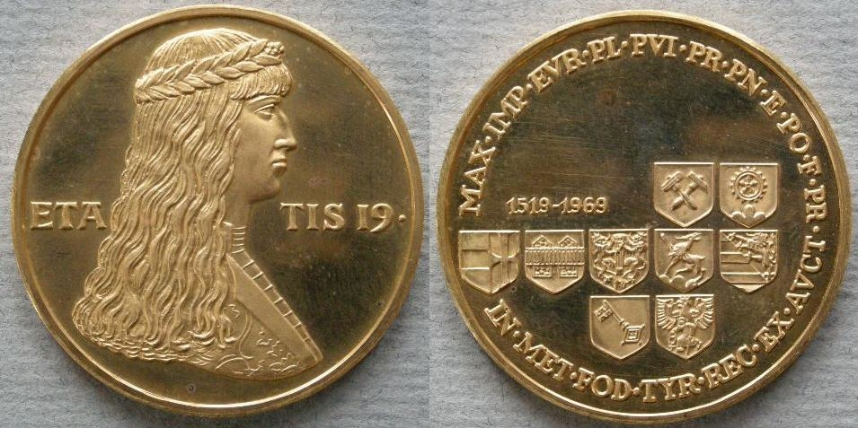 Austria. Medal commemorating the 450th anniversary of the marriage of Maximilian of Austria to Mary of Burgundy, 1969