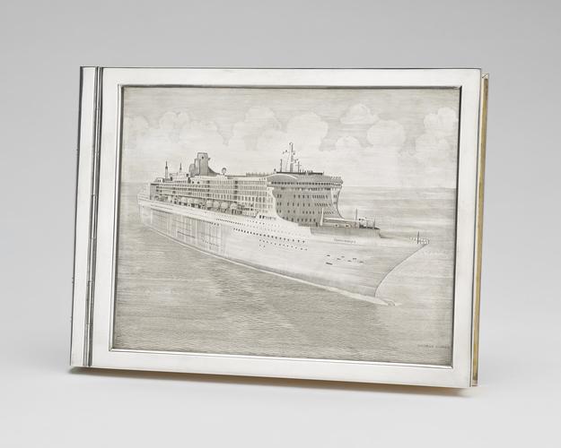 Silver case depicting RMS Queen Mary II