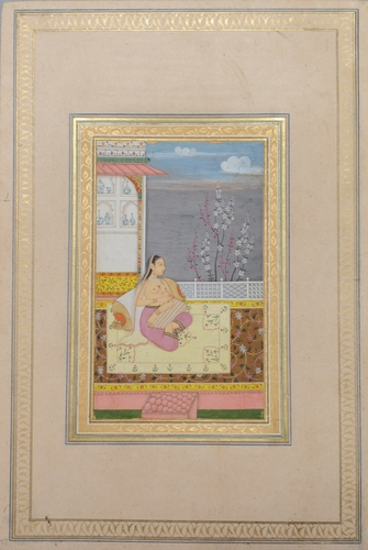 Master: Album of portraits, animals and birds. Item: Paintings of a Mughal lady on a terrace and a turkey