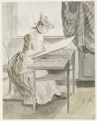 A young lady painting