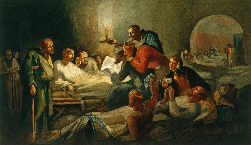 Reading the Queen's letter, Scutari Hospital