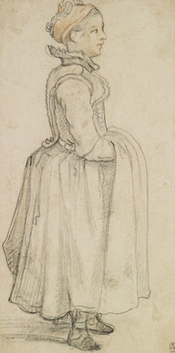 A standing girl with her hands under her apron