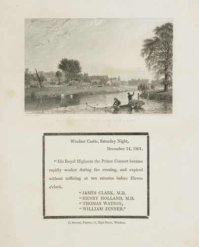 Windsor Castle from Eton Play-Fields, with notice of the bulletin announcing the death of the Prince Consort
