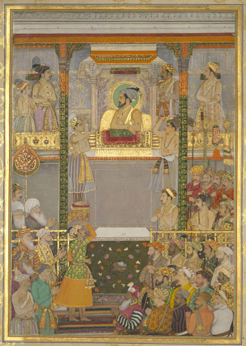 Master: The Padshahnama Item: Shah-Jahan honouring Prince Awrangzeb at Agra before his wedding