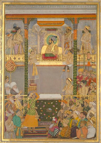 Master: The Padshahnama Item: Shah-Jahan honouring Prince Awrangzeb at Agra before his wedding