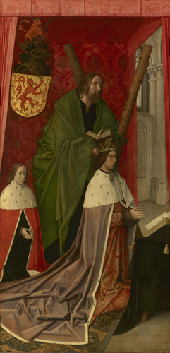 Master: The Trinity Altarpiece panels Item: James III, King of Scots, accompanied by his son James, presented by St Andrew (obverse)