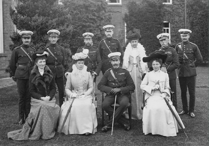 Group photograph including the Prince and Princess of Wales, taken at Aldershot, May 1904