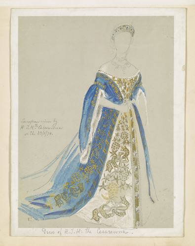 A study of the dress worn by the Tsesarevna for the marriage of the Grand Duchess Maria to Alfred, Duke of Edinburgh