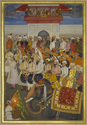Master: The Padshahnama Item: Jahangir receives Prince Khurram on his return from the Deccan (10 October 1617)