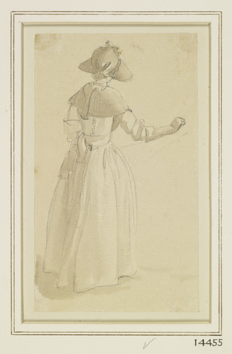 A girl in a sunhat, seen from behind