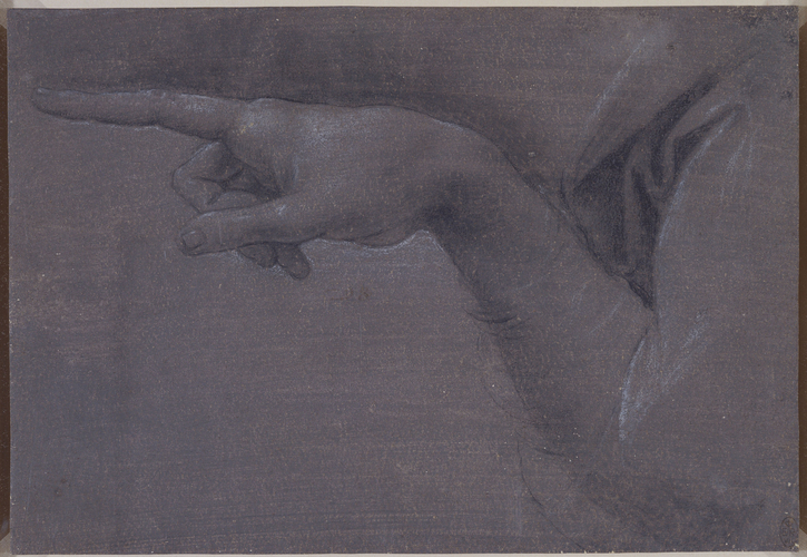 The pointing hand of the angel in The Virgin of the Rocks