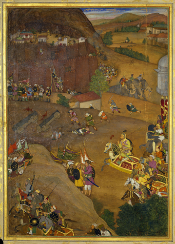 Master: The Padshahnama Item: A'zam Khan captures Fort Dharur (January 1631)