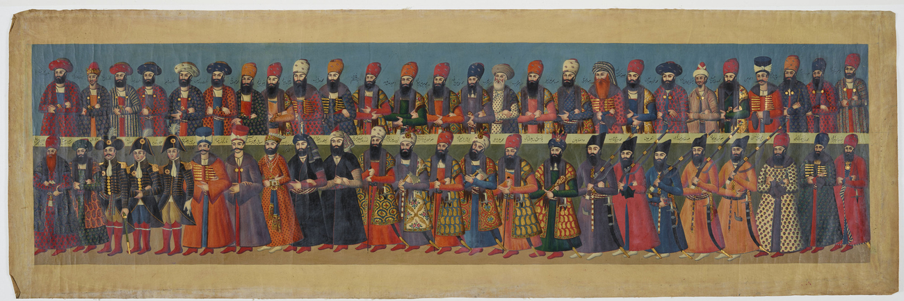 Master: The Court of Fath 'Ali Shah at the Nowrooz Salaam Ceremony. Item: Nobles and officials attending the audience of Fat?h Ali Shah, looking left