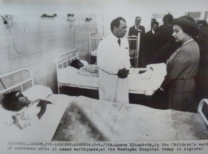The Queen visits the survivors of the Al Asnam earthquake at Mustapha Hospital, Algiers. [Royal visit to Algeria, 1980]