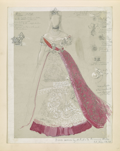 A study of the dress worn by the Princess of Wales for the marriage of the Grand Duchess Maria to Alfred, Duke of Edinburgh