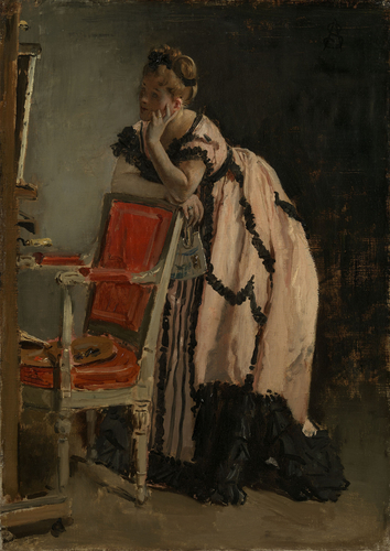 A Girl in Pink Leaning on a Chair