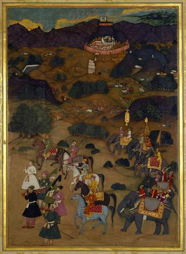 Master: The Padshahnama Item: Shah-Jahan visits the shrine of Khwaja Mu'inuddin Chishti at Ajmer (November 1654) / Kashmiri Painter (attrib. )