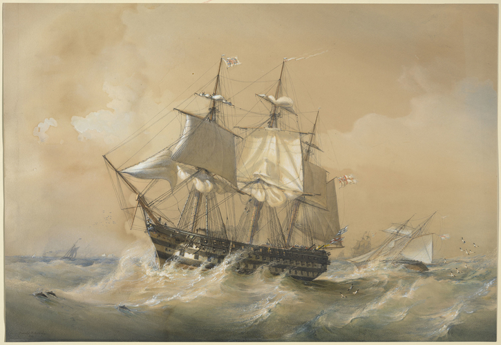HMS St George hove to