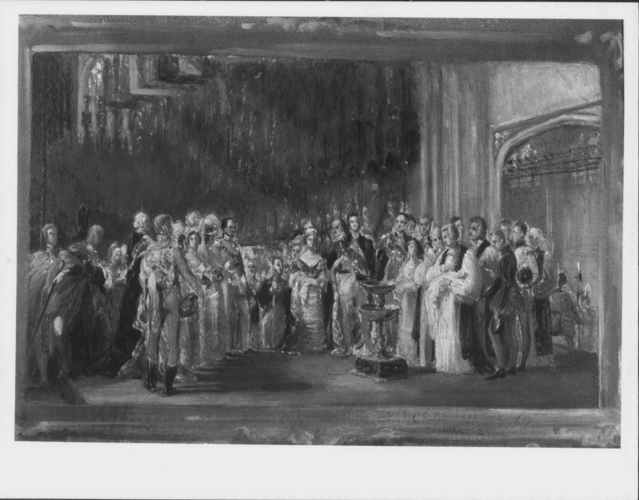 The Christening of Albert Edward, Prince of Wales, later Edward VII (1841-1910) at St George's Chapel, Windsor, 25 January 1842 (oil sketch)