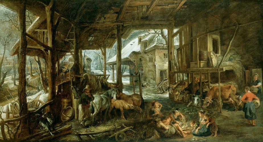 Winter: The Interior of a Barn