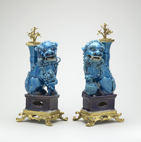 Master: Pair of lions with mounts