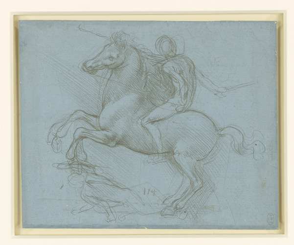 Recto: A design for an equestrian monument. Verso: Studies of flowing water, a cross-bow, geometry, etc