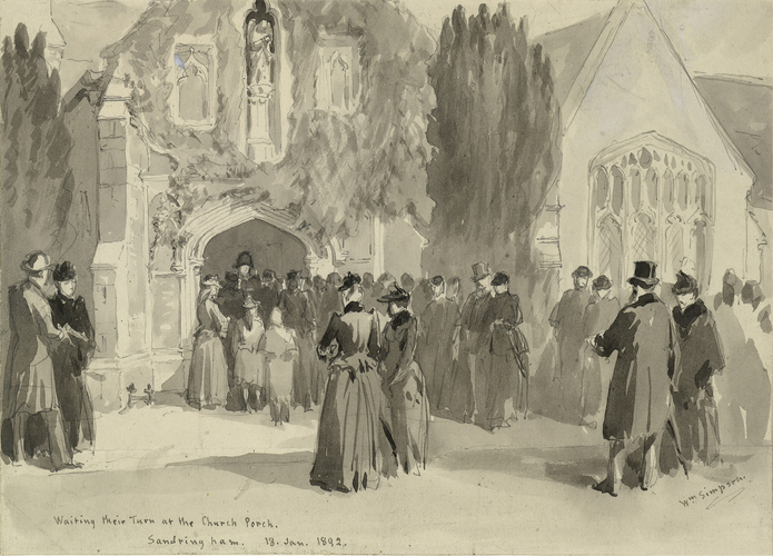 Outside Sandringham Church, 18 January 1892