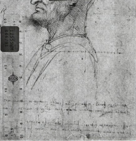 Recto: A bald man in profile, with mathematical calculations and notes. Verso: A bearded man in profile, confronted by a grotesque profile